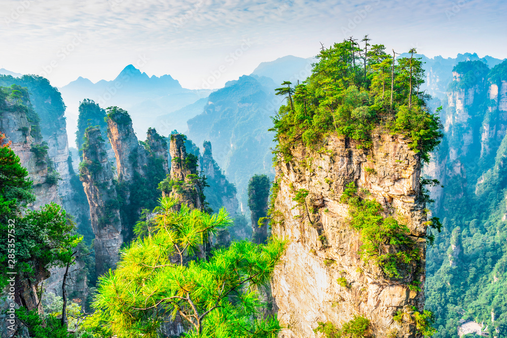Fototapety, obrazy: Landscape of Zhangjiajie. Located in Wulingyuan Scenic and Historic Interest Area which was designated a UNESCO World Heritage Site in china.