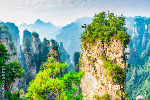 In de dag Beige Landscape of Zhangjiajie. Located in Wulingyuan Scenic and Historic Interest Area which was designated a UNESCO World Heritage Site in china.