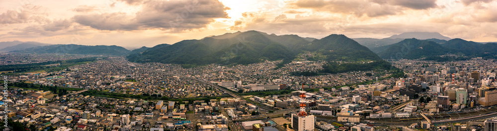 Fototapety, obrazy: Aerial drone photo - Sunset over Nagano City.  Nagano Prefecture, Japan.  Asia