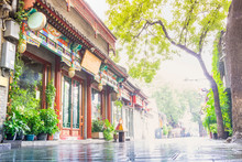 Nanluoguxiang Of Beijing In The Morning. The Neighborhood Contains Many Typical Narrow Streets Known As Hutong. Located In The Dongcheng District, Beijing, China.