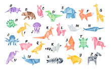 Watercolour Origami Alphabet. Letters From A To Z: Armadillo, Bear, Cat, Dinosaur, Elephant, Fox, Giraffe, Hedgehog, Ibis, Jellyfish, Kangaroo, Llama, Mouse, Narwhal, Octopus, Pig, Quail, Raccoon...