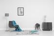 Leinwanddruck Bild - Room interior with stylish furniture near white wall