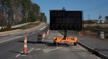 Digital Right Lane Closed Sign