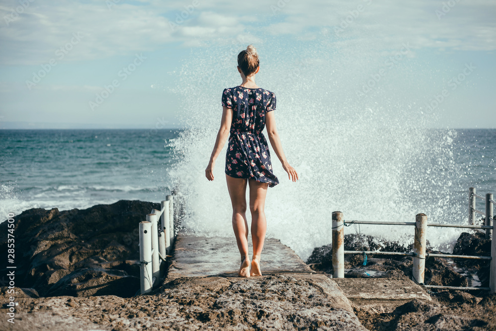 Fototapety, obrazy: Woman beach photo portrait, backpack travel girl,Pretty woman posing in the park, using backpack, travel vibes, hipster girl, outdoor close up portrait, happy face, smile, swimsuit, cap, smile, Bali