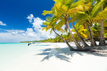 White Sandy Beach With Sea And...