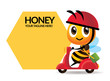 Cartoon cute bee rides scooter delivery with big signage or signboard