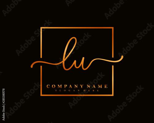 LU Initial handwriting square minimalist logo vector Fototapete
