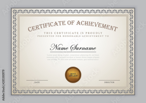 Fotografía Certificate template with luxury pattern, diploma, vector illustration