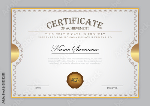 Fotomural Certificate template with gold element, diploma, vector illustration