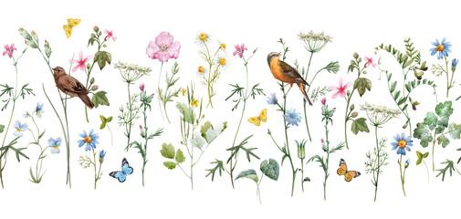 Fototapeta Malarstwo Watercolor floral pattern