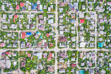 Aerial Top View Of Lots Of Houses At City Suburb Area In Summer Day. Minsk, Belarus