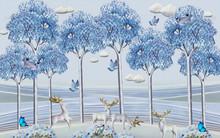 Landscape Illustration, Blue Background, Blue Tall Trees, White Deer With Golden Horns