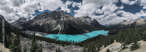 Valokuva  Panorama of Peyto Lake and dramatic landscape along the Icefields Parkway, Canad