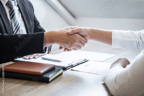 Fotomural Successful job interview, Image of Boss employer committee or recruiter in suit