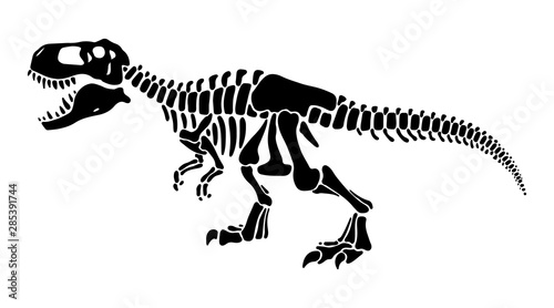 T rex dinosaur skeleton negative space silhouette illustration Canvas Print