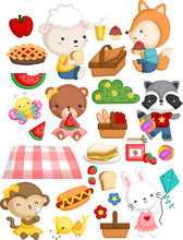 Many Animal Gathering Together In A Picnic Theme