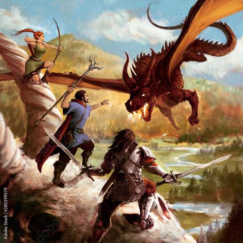 Fotografie, Obraz  scène de heroic fantasy avec elfe guerrier et mage attaquant un dragon rouge