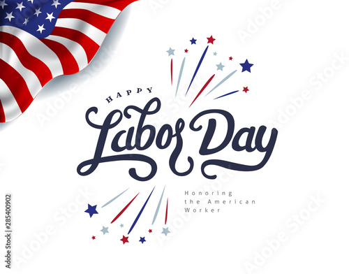 Poster Wall Decor With Your Own Photos Happy labor day hand lettering background banner template.Vector illustration .