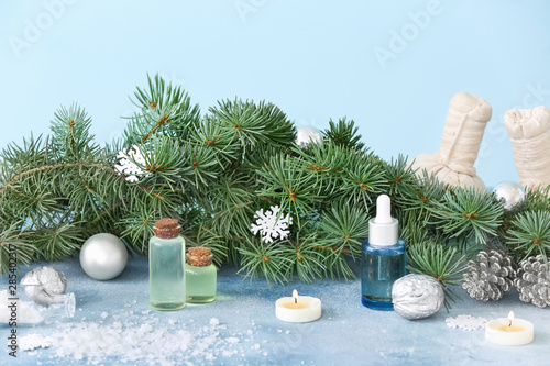 Fototapety, obrazy: Christmas decor and products for spa treatment on table