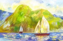 Watercolor Sailboats On The Ba...