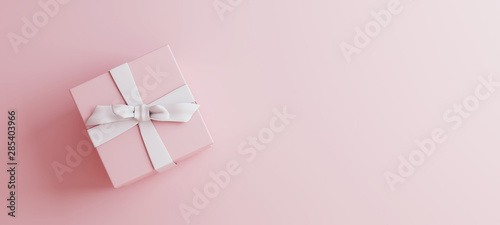 Fotomural  Mock-up poster, gentle millennial pink colored gift box with white bow on light