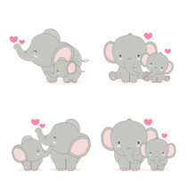 Elephant Mom And Baby. Vector ...