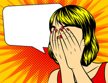 Vector Pop Art Surprised Woman Face With Closed Face By Hands. Comic Woman In Shock. Vector Illustration On A Yellow Dotted Background.