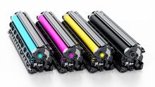 Stack Of Laser Printer CMYK Toners. 3D Illustration