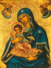 Madonna And Child Icon. Golden Background With Angels.