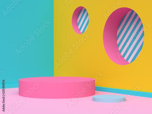 Fotografía yellow green pink wall corner abstract geometric scene 3d render