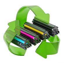 Laser Printer CMYK Toners Inside Recycle Arrows. 3D Illustration