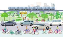 Stadtansicht Mit Radfahrern Und Straßenverkehr