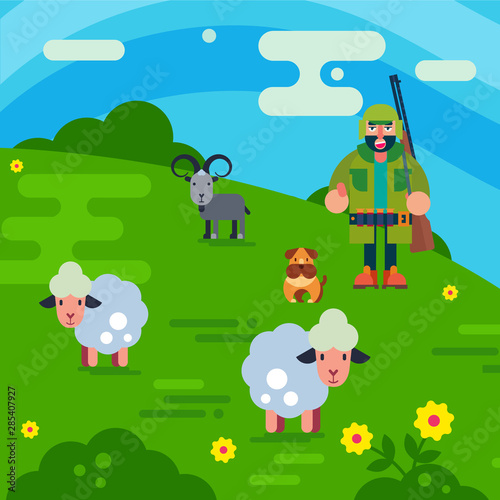Fotografie, Tablou  Shepherd with gun and dog herding flock of white sheeps cartoon vector illustration