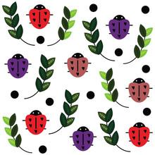 Seamless Repeat Pattern Of Ladybugs