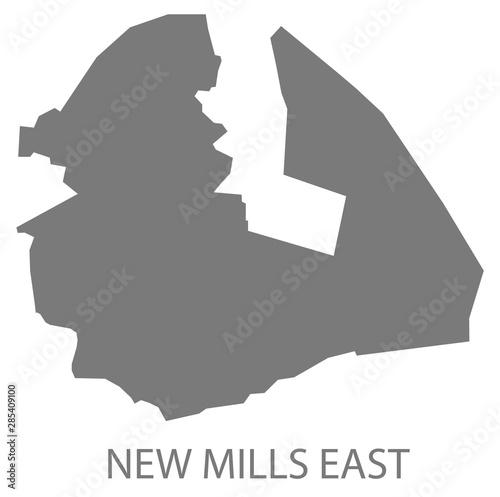 Fotografie, Obraz  New Mills East grey ward map of High Peak district in East Midlands England UK