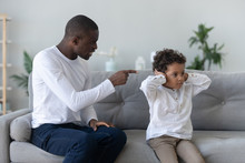 Angry Single Black Father Scolding Stubborn Fussy Little African Son