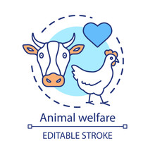 Animal Welfare, Care Concept Icon. Voluntary Wildlife Protection Idea Thin Line Illustration. Veterinary Clinic. Heart Symbol, Chicken And Cow Vector Isolated Outline Drawing. Editable Stroke