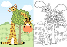 Giraffe And Monkey Playing Peek A Boo, Vector Cartoon, Coloring Page Or Book