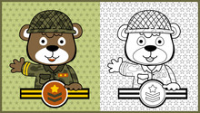 Vector Cartoon Of Funny Animal Soldier On Star Background Pattern, Coloring Page Or Book