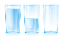 Set Of Three Glasses Isolated, One Glass Of Clean Blue Fresh Water Isolated, Glass Half Filled With Water, Empty Glass, Clean Drinking Water Illustration, Cool Refreshing Drink