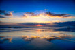 Magic Dramatic Unreal Sunset in Seminyak beach, Bali, Indonesia