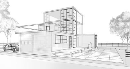 modern modular house 3d illustration