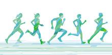 Laufende Menschen Beim Sport T...