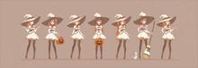 Halloween Anime Manga White Witch In Various Poses