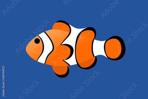 Fotografie, Tablou  Clownfish minimal cartoon style on blue water.