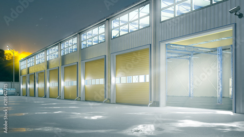 Fotomural Hangar night exterior with rolling gates. 3d illustration