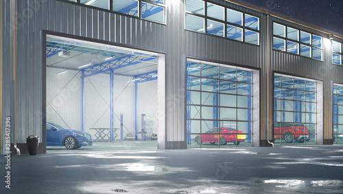 Hangar night exterior with rolling gates. 3d illustration Fotobehang