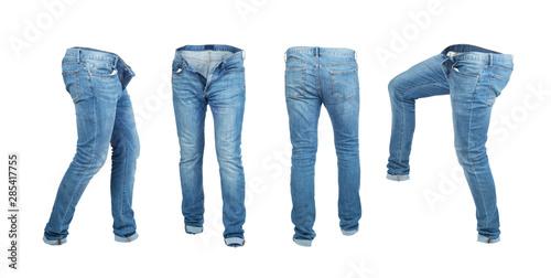 Cuadros en Lienzo Blank empty jeans pants leftside, rightside, frontside and backside in moving is