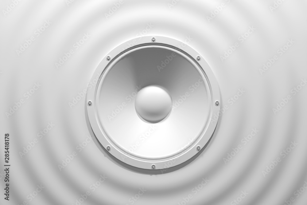 Fototapety, obrazy: abstract sound speaker with dynamic bass waves - 3D Illustration