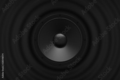 Fotografia abstract sound speaker with dynamic bass waves - 3D Illustration